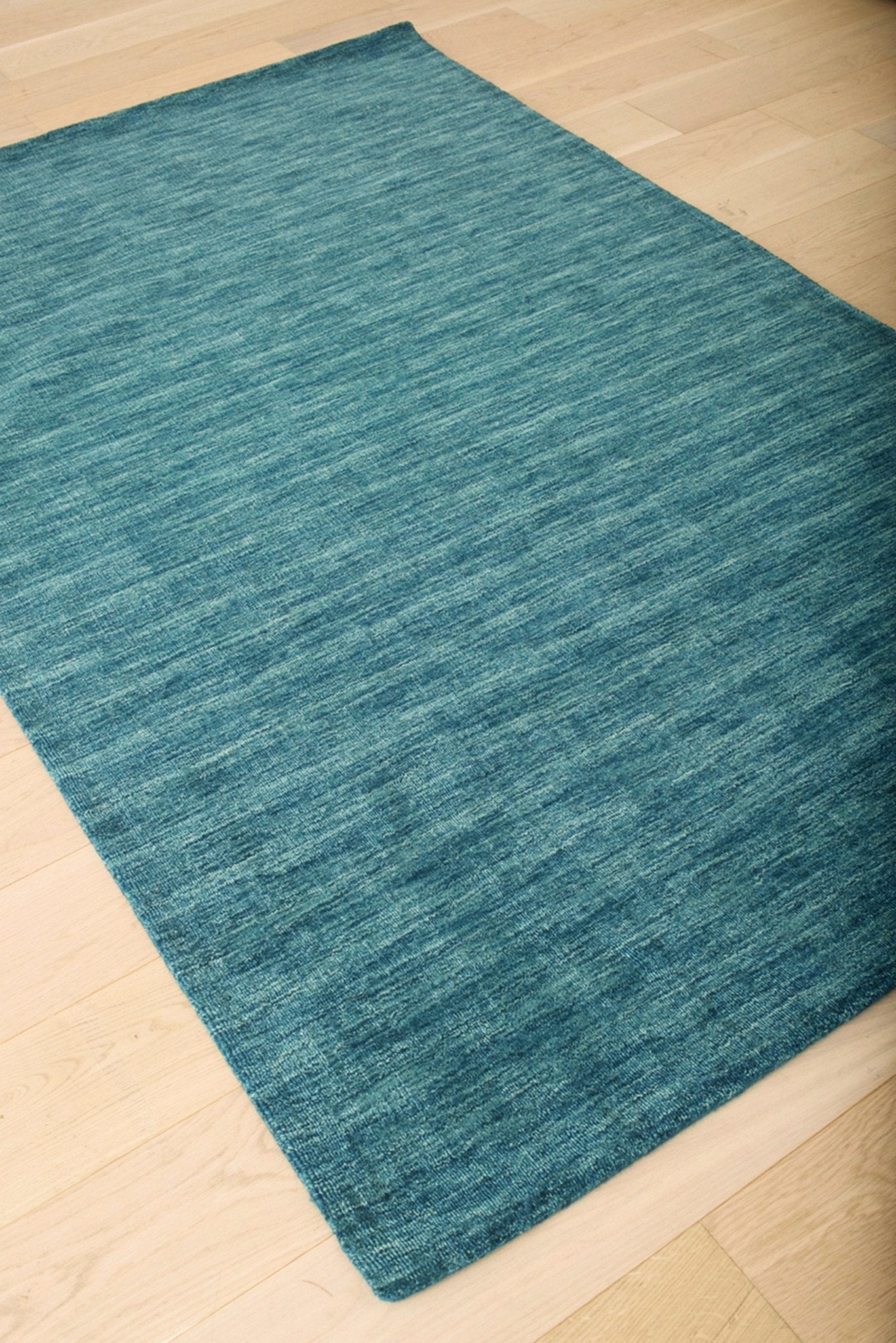 Modern Faded Teal Blue Wool Area Rug