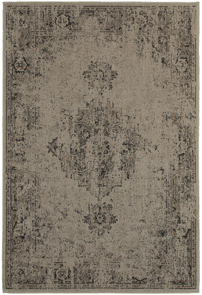 Worn Gray Faded Rug Woodwaves