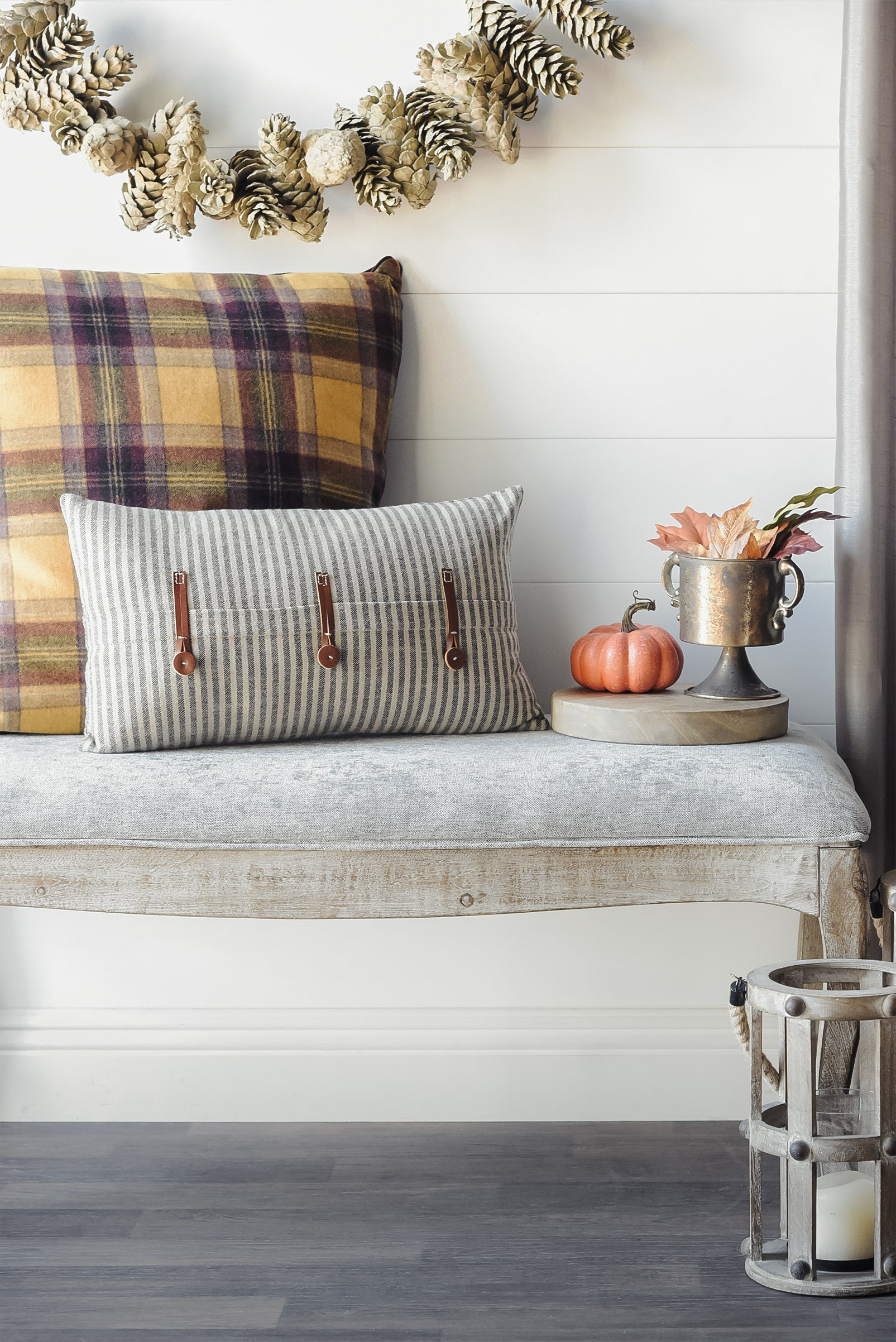 Striped Farmhouse Pillow With Leather Trim