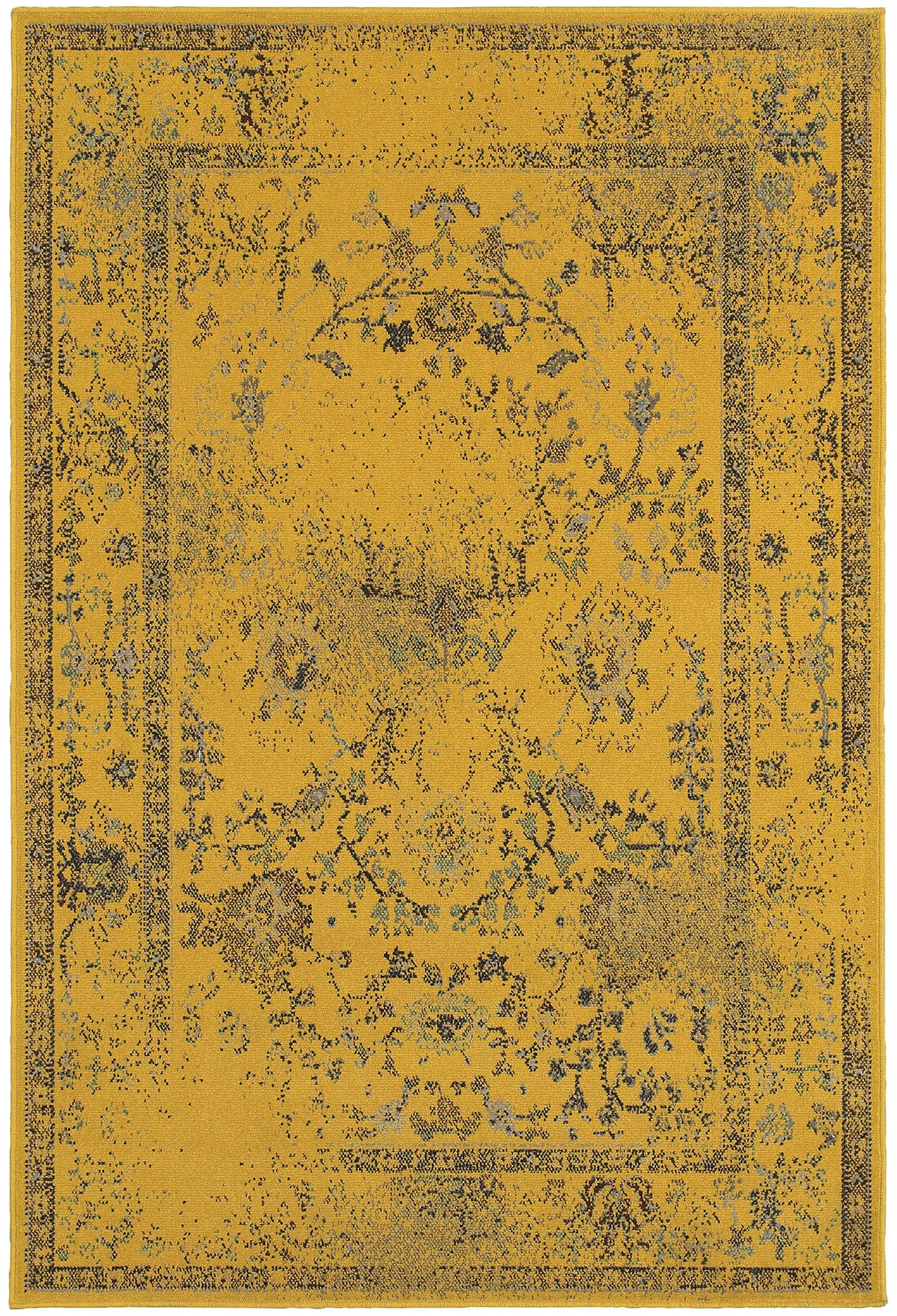 Yellow Overdyed Persian Style Rug - Woodwaves