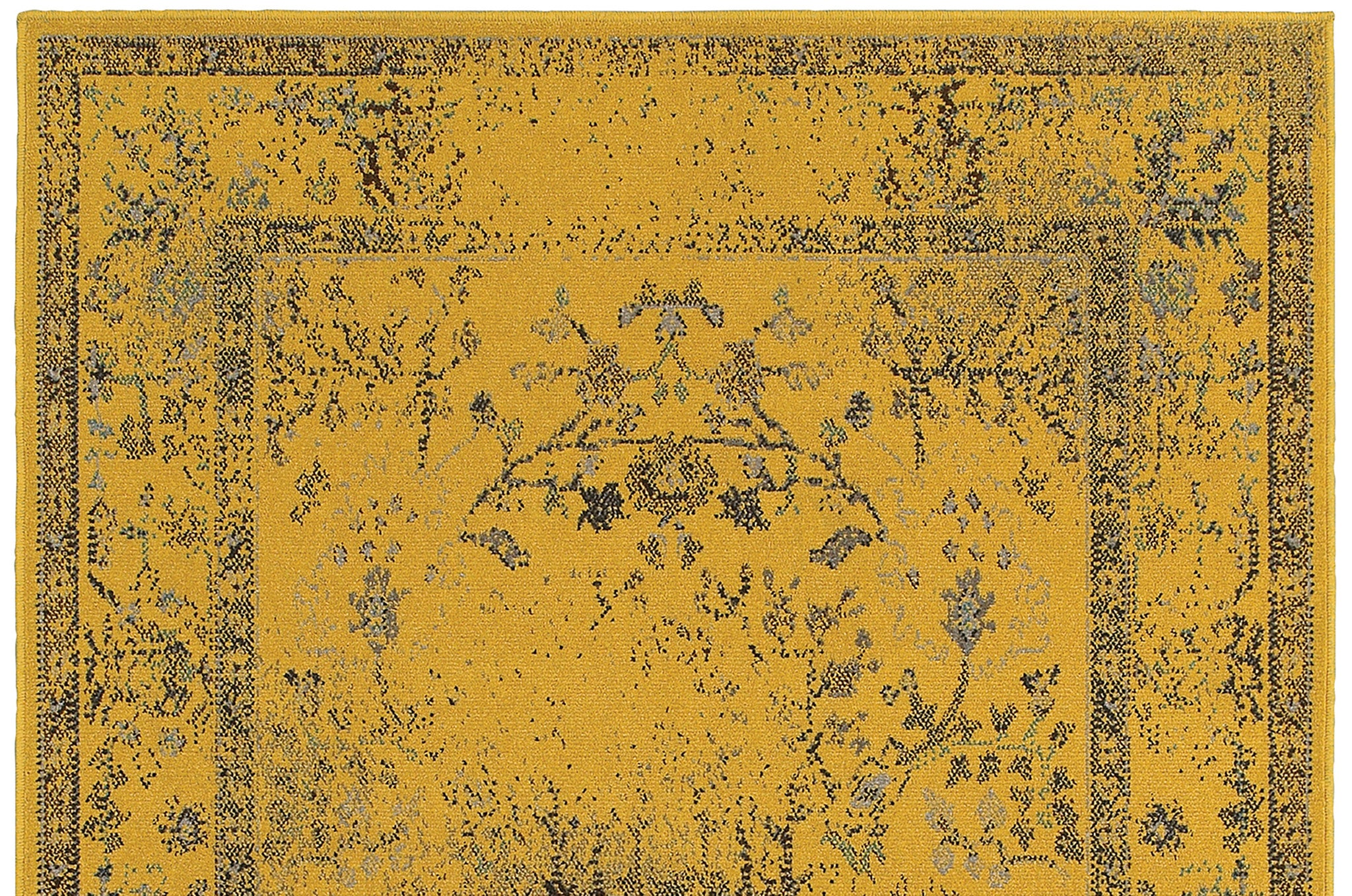Yellow Overdyed Persian Style Rug Woodwaves