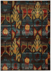 Yellow and Blue Ikat Pattern Rug