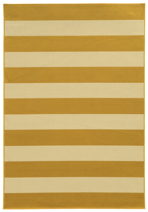 Yellow and Tan Striped Modern Outdoor Rug