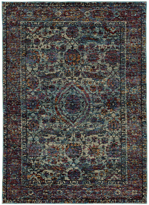 Blue And Purple Traditional Modern Rug