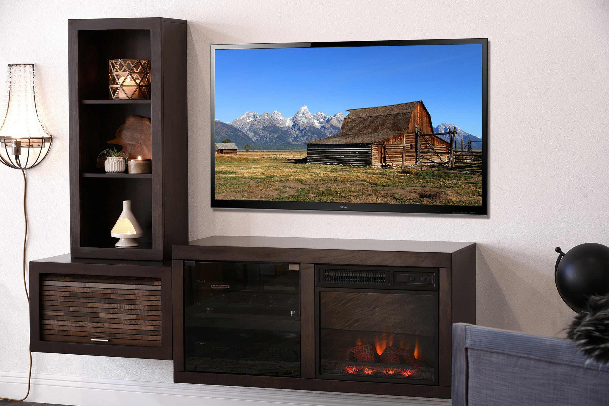 Hanging Fireplace Tv Stand Eco Geo Espresso Woodwaves