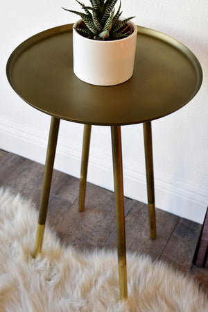 Retro Mid Century Modern End Table - Antiqued and Polished Brass