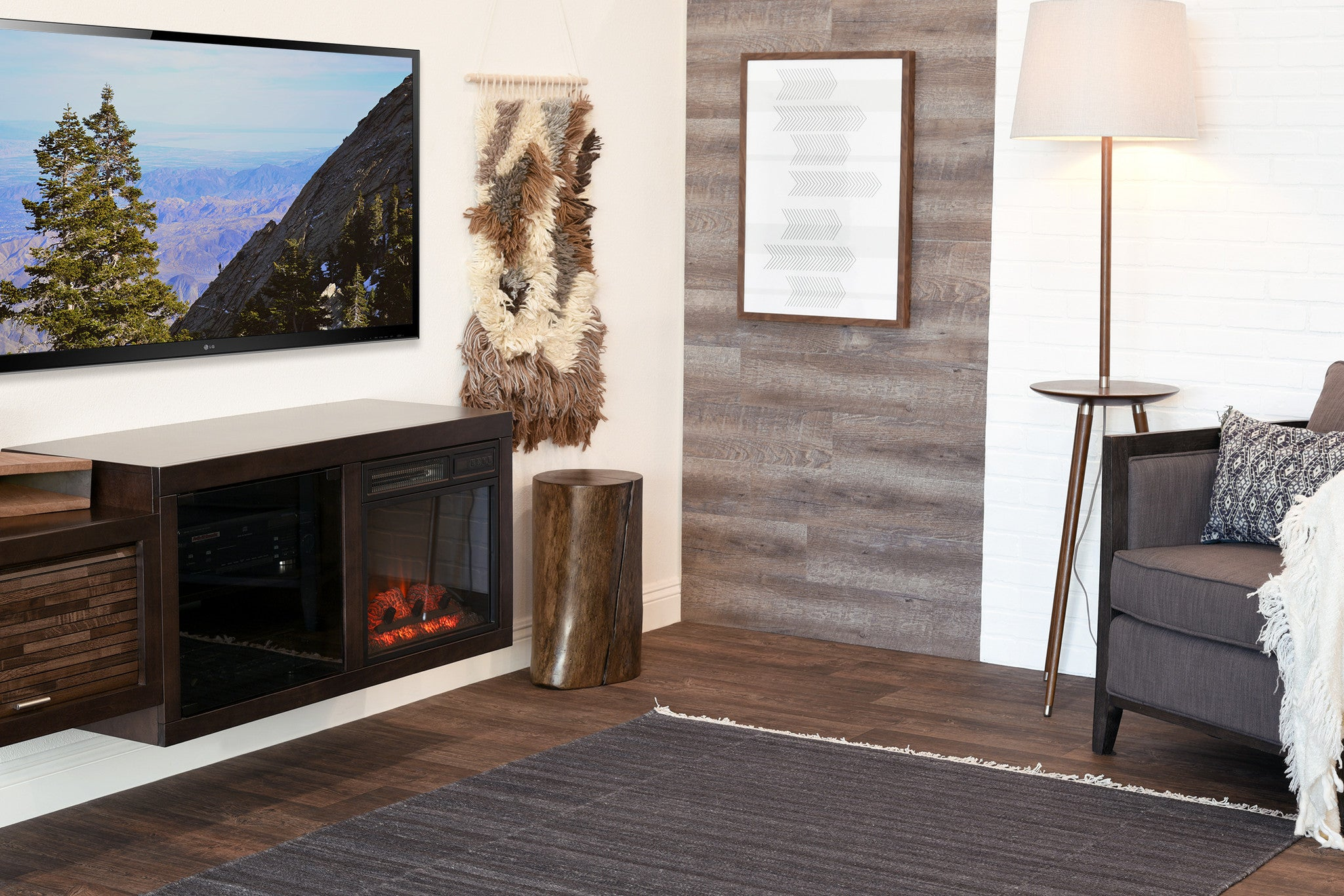 hanging wall mount fireplace tv stand eco geo espresso woodwaves