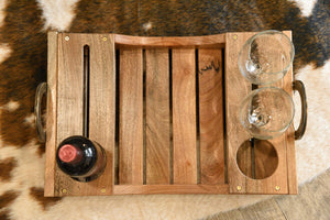 Horseshoe Reclaimed Wood Wine Serving Tray