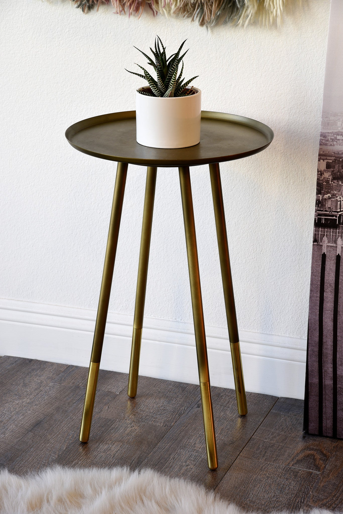 Retro Mid Century Modern End Table   Antiqued And Polished Brass