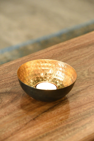 Set of 3 Bronze Finished Tealight Holder With Gold Leaf