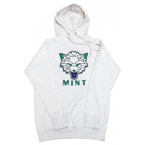 Wolf Face Embroidered Hoodie - Oatmeal