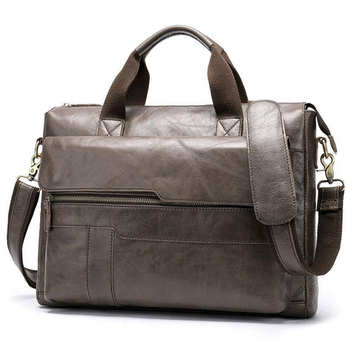 Leather Laptop Bag and Messenger Bag for Men Grey
