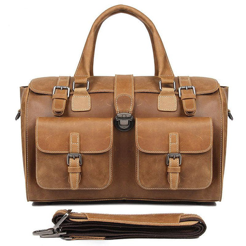 Leather Duffle Bag Weekender Travel Bag Crazy Horse Bag 14 Inch Laptop