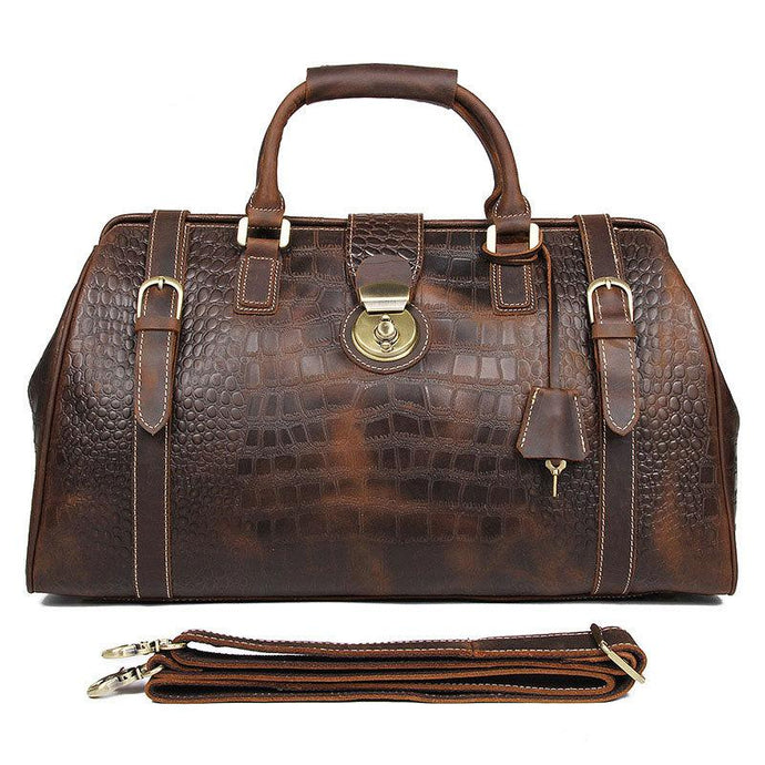 Leather Travel Bag for Men Dark Brown Weekend Bag with Crocodile Print