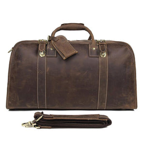 Big Leather Brown Travel Bag Weekender Duffle Bag for Men