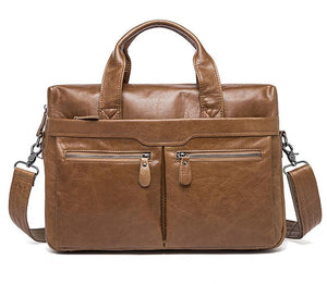 Leather Business Messenger Bag for Men Fitting Laptop