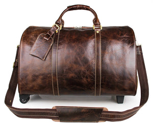 Leather Luggage Bag Travel with Wheels Brown for Men