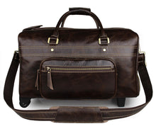 Men's Wheeled Leather Luggage Brown Holdall Travel Bag