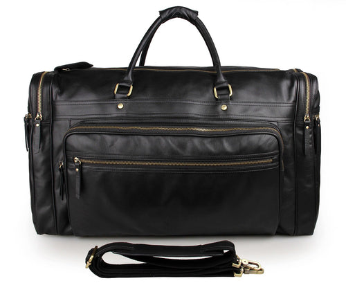 Black Leather Travel Bag for Men Holdall Weekend Bag