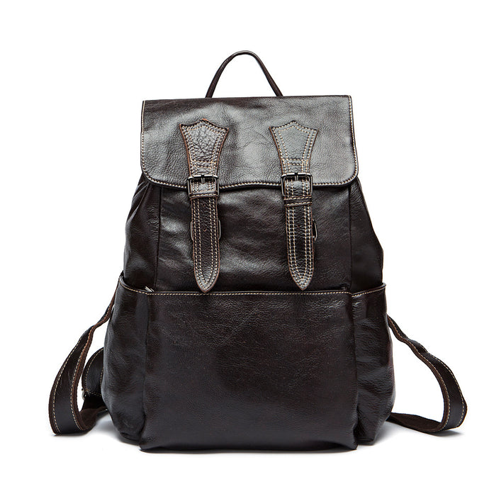 Retro Leather Men's Backpack Large Capacity Travel Backpack for Men