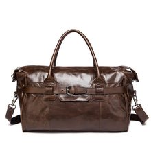Men's Leather Holdall Weekend Bag Travel Duffle Bag for Men Brown