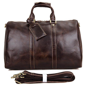 Men's Leather Holdall Bag for Traveling and Weekend Dark Brown