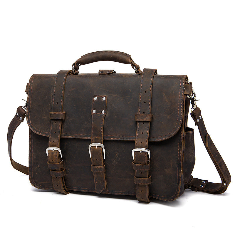 Men's Business Bag Messenger Bag First Layer Crazy Horse Leather Briefcase Large Capacity Men's Bag Satchel Laptop Bag
