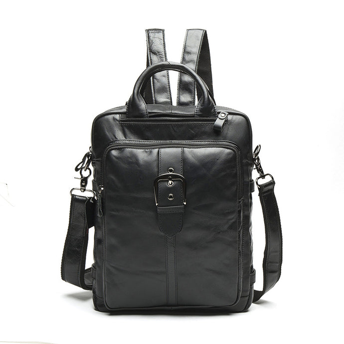 Men's Black Leather Backpack Satchel Bag with Top Grain Leather
