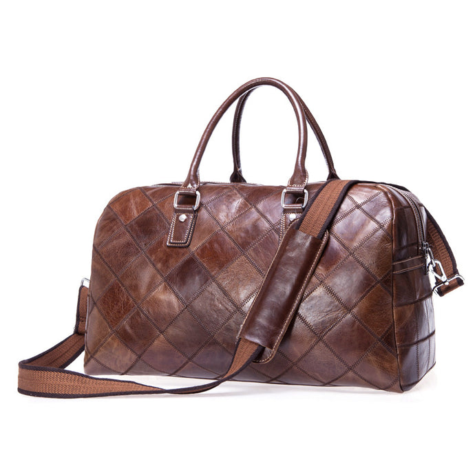 Travel Bagtop Grain Cowhide Large Capacity Duffle Weekender Holdall Bag Sports