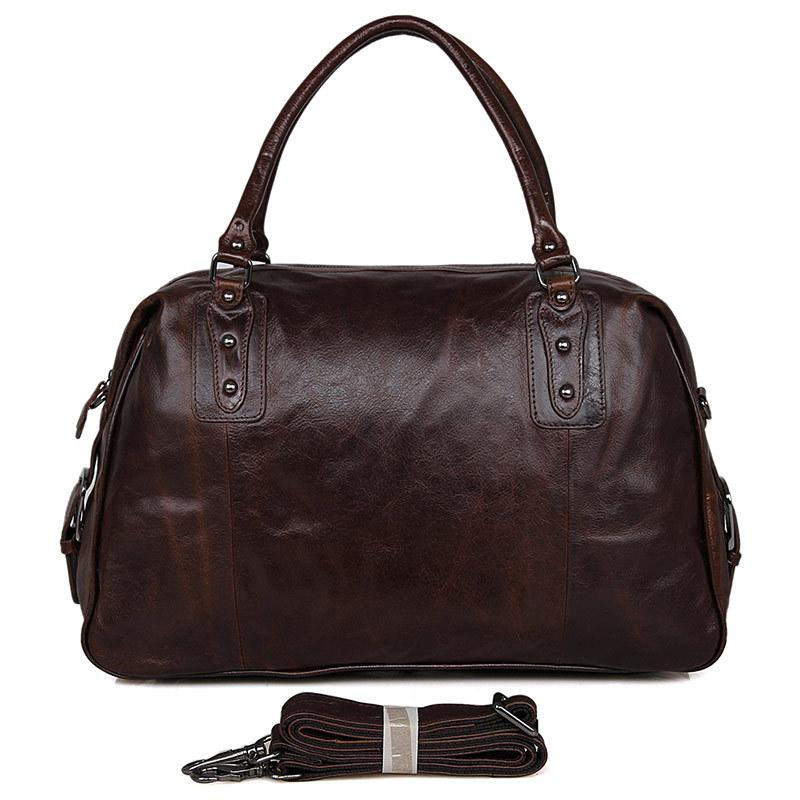 Men's Leather Luggage Travel Bag Holdall Weekend Bag 17'' Laptop