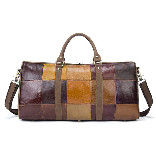 Leather Holdall Travel Bag Duffle Bag Weekender Sports Bag for Men Stitching Style