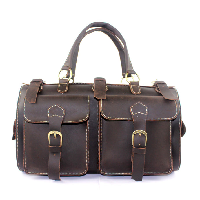 Retro Crazy Horse Leather Travel Bag Leather Weekend Bag Sports Duffle Gym Bag for Men