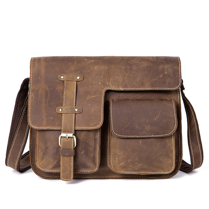 Retro Men's Crossbody Shoulder Messenger Bag Briefcase Business Laptop Bag for Men Made with Crazy Horse Leather