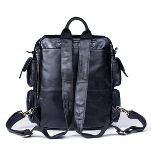 Vintage Look Genuine Leather Backpack for Men Leather Bookbag Satchel Brown and Black