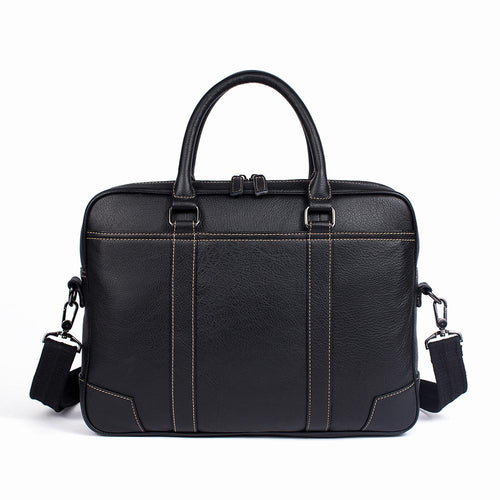 Black Leather Laptop Bag for Men and Women 14 inch