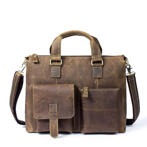 Dark Brown Men's Leather Messenger Bag