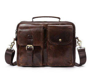 Leather Messenger Bag Laptop Bag for Men Dark Brown
