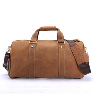 Leather Travel Bag Retro Weekender Travel Luggage Bag Duffel Bag Crazy Horse Leather Gym Bag Brown