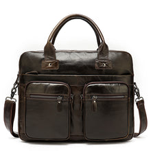 Waxed Leather Briefcase Retro Men's Messenger Bag 14 Inch Business Laptop Bag Crossbody Satchel for Men