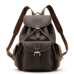 Men's Leather Backpack Crazy Horse Leather Travel Bag Bookbag Large Capacity Leather Bag for Men