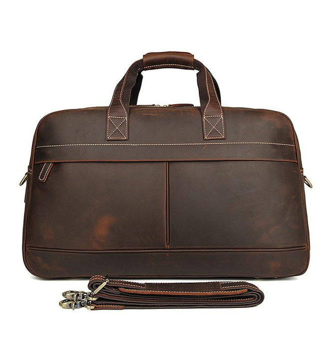 Men's Vintage Leather Travel Bag Holdall | Coffee