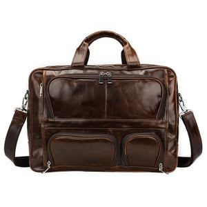 Cowhide men's handbag leather briefcase