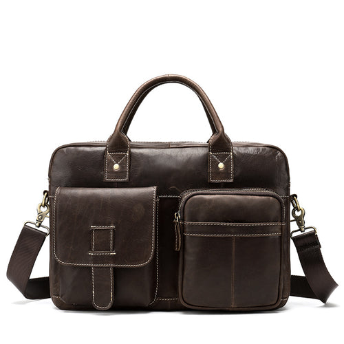 Men's Bag Men's Business Shoulder Bag Leather Large Capacity Vintage Messenger Briefcase