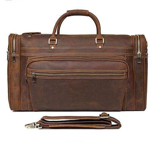 17 Inch Laptop Bag for Men Vintage Brown Leather Messenger Bag
