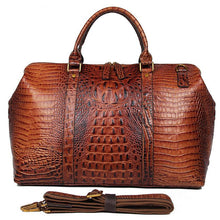 Men's Leather Luggage Crocodile Print Weekend Holdall Bag Brown
