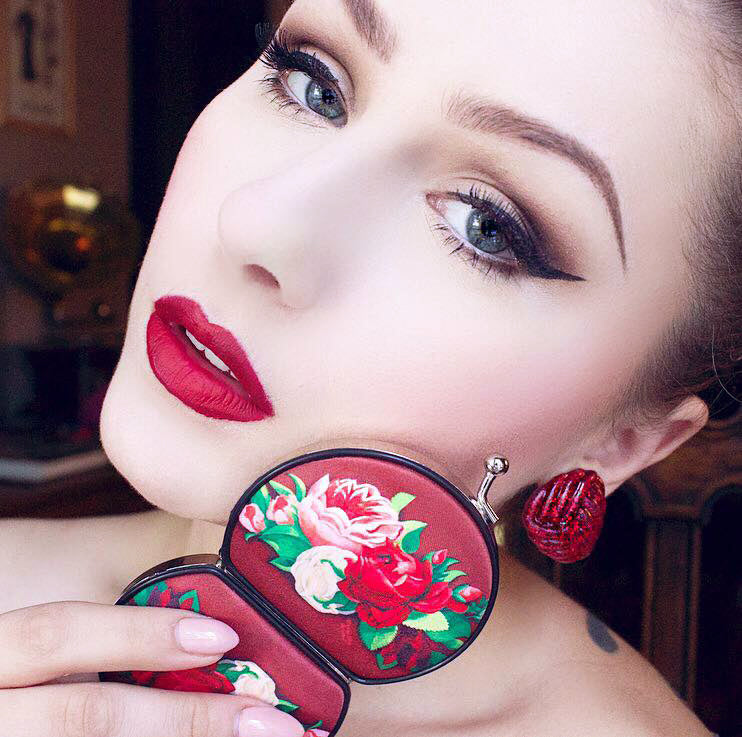 Retro compact mirror, Red Paris