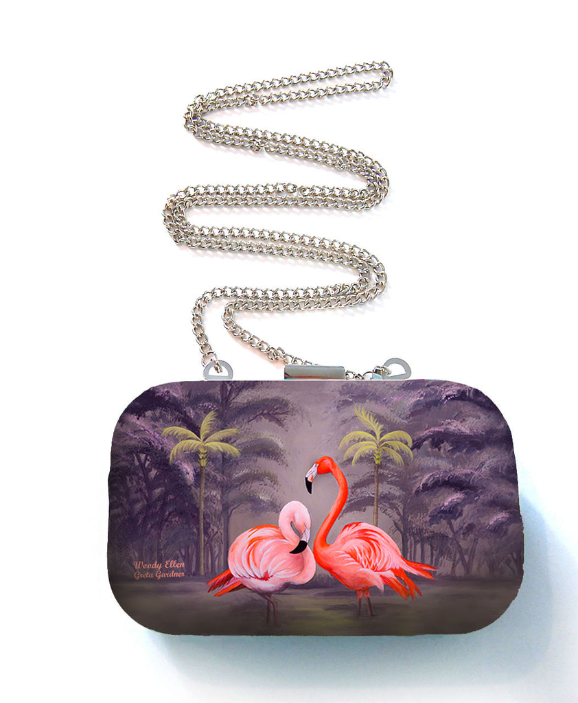 Box purse, box clutch, Flamingo