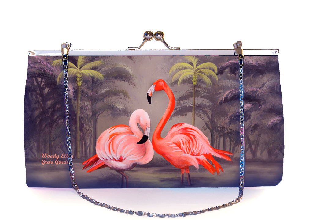 Retro clutch, clutch bag, Flamingo