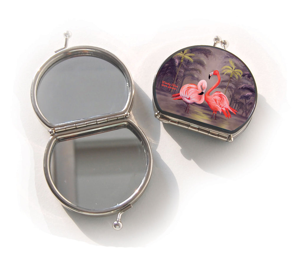 Retro compact mirror, Flamingo
