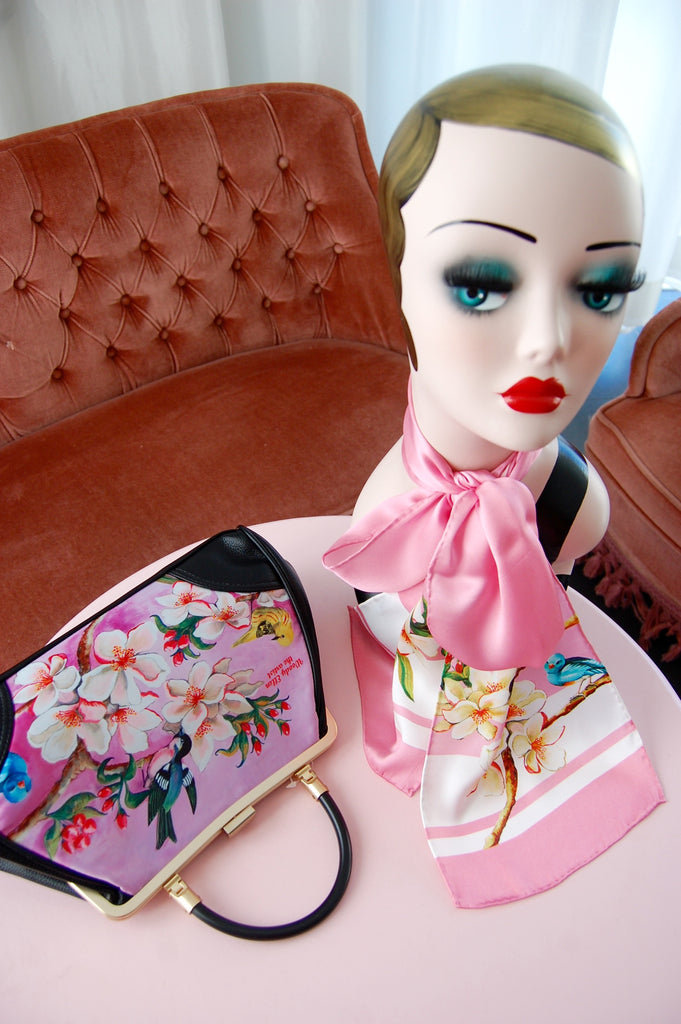 Handbag + Silk Scarf, Bloom